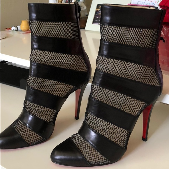 best service a16a6 48383 NEW Christian Louboutin caged booties 37.5 Boutique